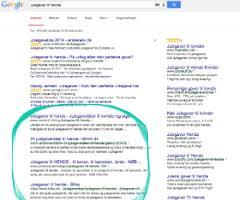Her ligger det organiske søgeresultat i Google