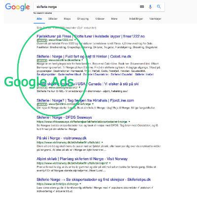 Google Ads placeres øverst og nederst i søgeresultaterne