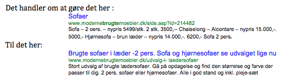 mete-data vist med title tag og decsription