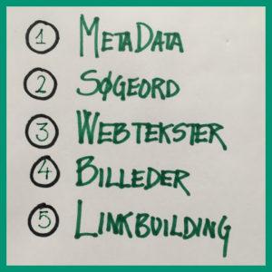De 5 elementer i SEO er MetaData Søgeord Webtekster Billeder og Linkbuilding